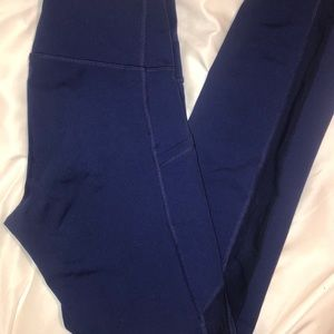 Navy Mesh-Side Leggings